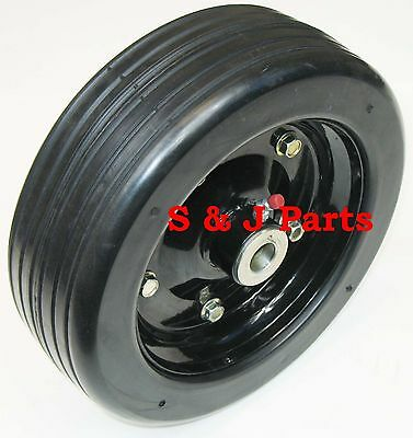 """10""""x 3.25"""" FINISH MOWER WHEEL SOLID MOLDED TIRE- BUSHINGS - FITS 5/8"""" AXLE"""
