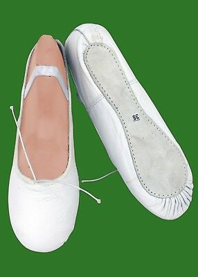 Ballet Shoes White Leather & Canvas with full sole for Girls/Woman's
