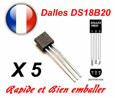 5 Pcs Dallas DS18B20 1-Wire Digital Thermometer TO-92
