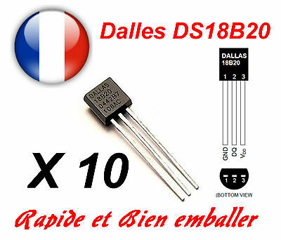 10 pieces Dallas DS18B20 1-Wire Digital Thermometer TO-92