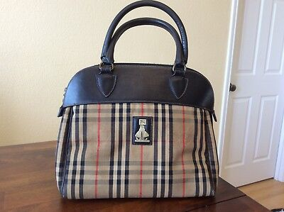 a8e9f8cabe1 VINTAGE BURBERRY HANDBAG Canvas Leather Nova Check - $138.00 | PicClick