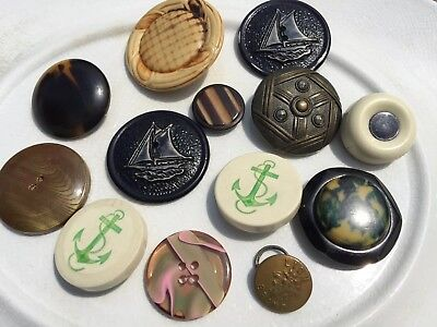 Large Antique Vintage And Victorian Lot Of 13 Collectible Buttons Anchors