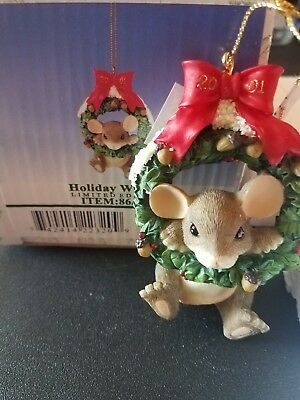 Charming Tails Holiday Wreath Ornament Fitz and Floyd Mouse