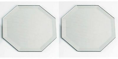 """Lot of 2 ~ Octagon Glass Mirror With Bevel Edge Coaster 5""""  With Rubber Feet"""