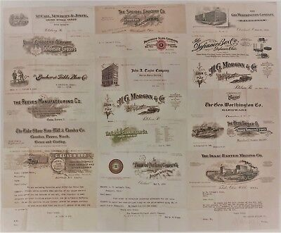 B882 US Lot of 18 Early Billheads and Letterheads 1907-1911 - Fine Condition
