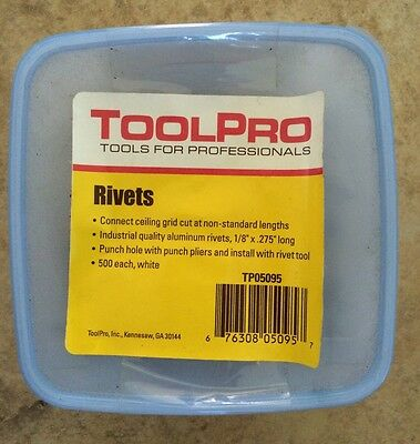 """ToolPro Rivets Aluminum for Ceilings 1/8"""" x .275"""" long White 500 pack TP05095"""