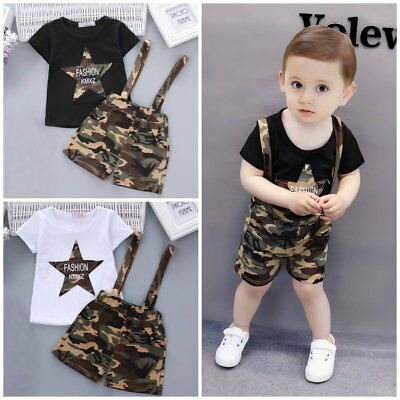 Toddler Baby Boys summer Tee+short Pants Overalls Outfits Clothes Set camouflage