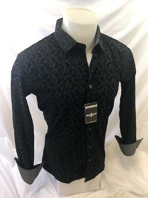 Mens BARABAS Designer Shirt BLACK PAISLEY FLOCKED Button Up SLIM FIT B8001 NWT