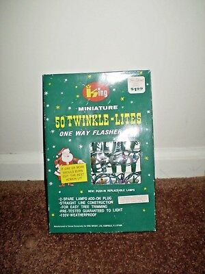 Vintage King Miniature 50 Twinkle Lites One Way Flasher Set - Tested Working