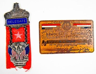 1940 Delegate Pin - Democratic National Convention Cast with Enamel Inlay