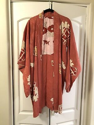 Vintage Coral Pink And Red Floral Origami Cranes Japanese Haori Kimono Jacket