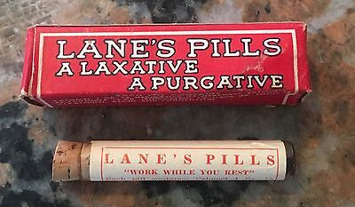 1940S Lane's Pills Laxative Glass Bottle Cork Top 2.75 Inch NOS