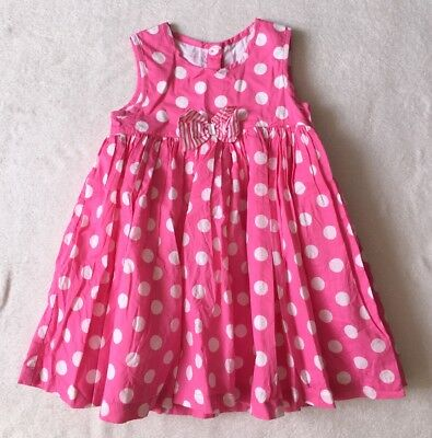 ***George baby girl Pink Spotty Bow cotton dress 9-12 months VGC!***