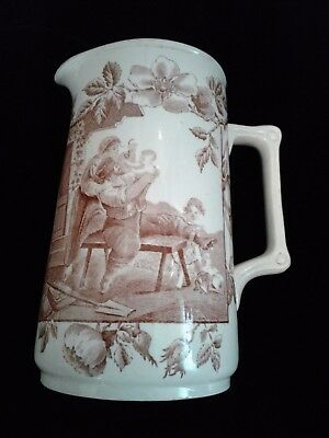 Antique Brown Transferware Pitcher Aesthetic Movement F Winkle W & W English