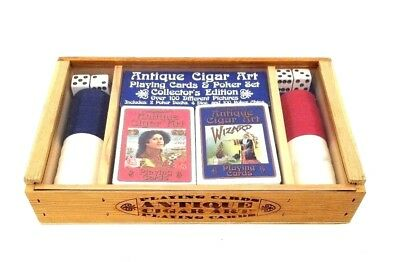 Antique Cigar Kit Art Playing Cards & Poker Set Collector's Edition Cigar Box