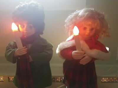 """2 Vintage Telco Christmas Motionette Dolls  24"""" Light Up Animated Holiday Decor"""