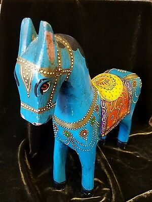 Hand painted Hand Carved Wooden Horse from India