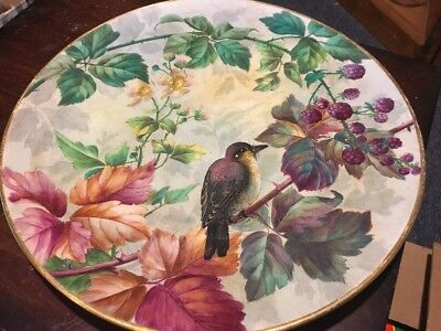 Iron Stone China Knowles Taylor & Knowles 11 Inch Bird Plate Gold Trim Near Mint