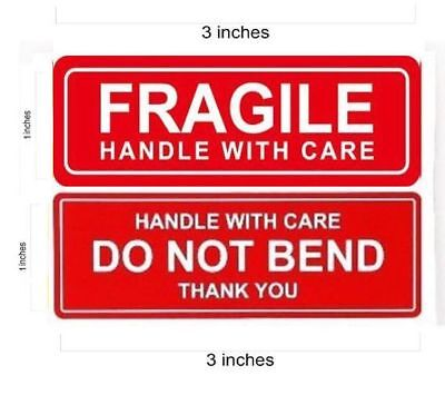 1 x 3 FRAGILE STICKER / DO NOT BEND STICKERS THANK YOU HANDLE WITH CARE  - QS