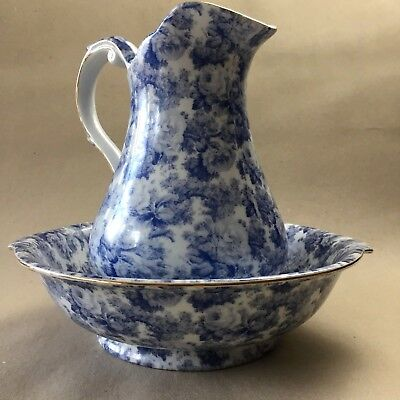 Wash Basin Bowel Pitcher Blue & White Floral Country Vintage Style China