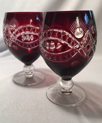 Bohemian Ruby Red Cut to Clear Goblet Glass | Set of 2 | Hand Blown Low Stem
