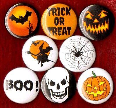 HALLOWEEN 8 NEW button pin badge TRICK OR TREAT happy BOO! witch bat skull web