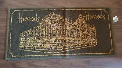 """Harrods green and gold 100% cotton bar towel 19"""" x 9.5"""" AS NEW condition"""