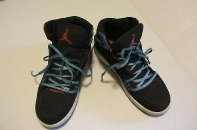 6725659bfbc392 Nike Girls Jordan 1 Flight Black W  Blue Glitter ~ Size 4.5 (371389-