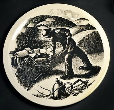 "Clare Leighton Wood Engraved Wedgwood Plate - New England Industries - ""FARMING"""