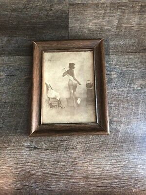 Vintage R.Hendrickson Sepia Print Boudoir Woman Taking A Bath