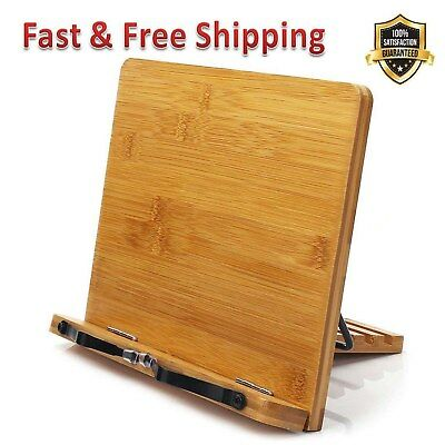Bamboo Book Stand Adjustable Holder Tray Page Paper Clips Portable Bookstand New
