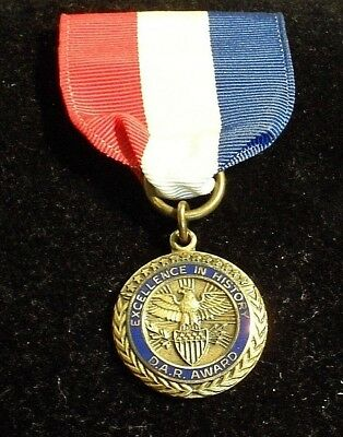 D.A.R. Award -- Excellence in History -- Vintage Bronze Medal / 1960s / 1-inch