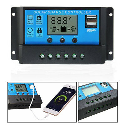 12V 24V Solar Panel Battery Charger 10-30A LCD USB Regulator Charge Controller