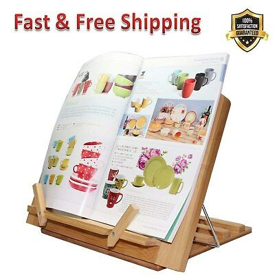 Bamboo Book Stand Adjustable Reading Cookbook Holder Tray with Page Paper Clips