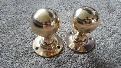 Pair Of Salvaged Victorian Solid Brass Door Knobs Handles Reclaimed Vintage Old