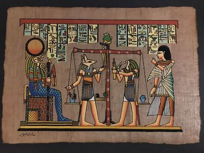 Amazing Genuine Hand Painted Egyptian Papyrus JUDGEMENT SCENE FROM BOOK OF DEATH