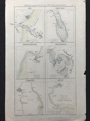 Antique Map PORTS HARBOURS SCOTLAND West Coast by Fullarton 1875 outline color