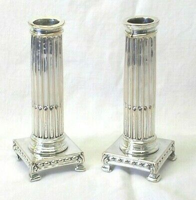 Pair of rare Gustavian silver plated candlesticks, Swedish antique candle holder