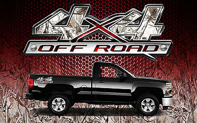2 4x4 Off Road Truck Camouflage Buck Snow Camo Truck Bed Decals Stickers-BOBSR