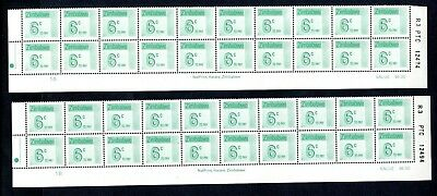 1985 ZIMBABWE POSTAGE DUE 6c Bottom 2 Rows REPRINT R3  1A and 1B D30 UNC