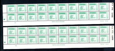 1985 ZIMBABWE POSTAGE DUE 6c Bottom 2 Rows REPRINT R4  1A and 1B D30 UNC