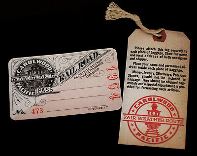 Walt Disney Carolwood Pacific Railroad PASS + Bag Tag 1954 2003 Holmby Hills