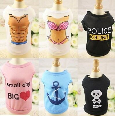 Small Pet Puppy Cat Dog Vest Summer Sleeveless Bikini Police Skull T-shirt Cloth