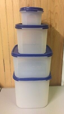 Tupperware Lot/4 Modular Mates Containers Rectangle 1,2,3 & 4 Blue Seal