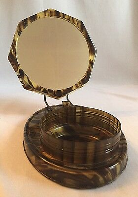 Vintage Tortoise Celluloid Travel Shaving Stand with Mirror