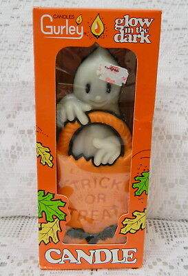 NEW VINTAGE 70s GURLEY HALLOWEEN CANDLE GLOW IN DARK GHOST TRICK OR TREAT BAT