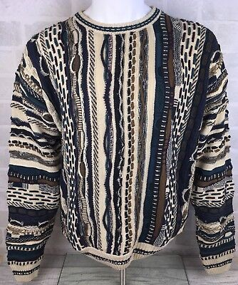 Vintage Coogi Style Multicoloured Sweater Jumper Hip Hop Biggie Smalls - Size M