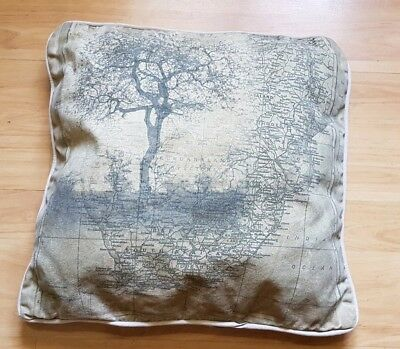 """SOUTH AFRICA CAPE TOWN TREE / MAP BEIGE CUSHION 16"""" x 16"""""""