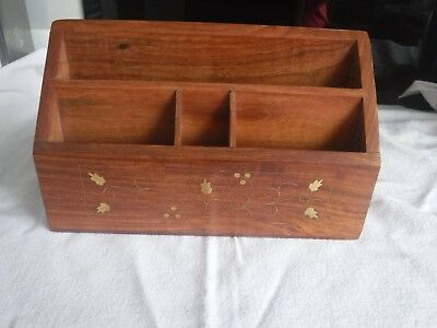 Wooden Desk Tidy with Brass Inlay
