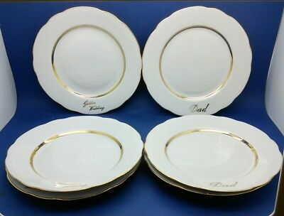 6 GOLD GUILDED BLANK PLATES FOR DECORATING 3 X Dad & 3 X Golden Wedding 19.5cms